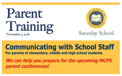 Parent Training: Nov 3 – Get ready for Parent-Teacher conferences at MCPS